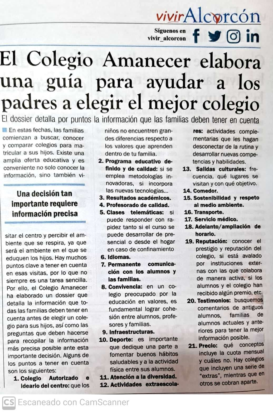 Vivir Alcorcón ofrece guía para elegir mejor colegio para nuestros hijos